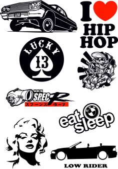 Hip Hop Stickers Car Vector Pack Free Vector