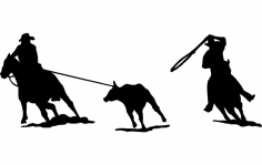 Rodeo team roping Silhouette dxf File