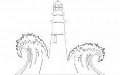 Lighthouse with Waves Scenery dxf File