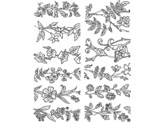 Floral Many designs dxf File