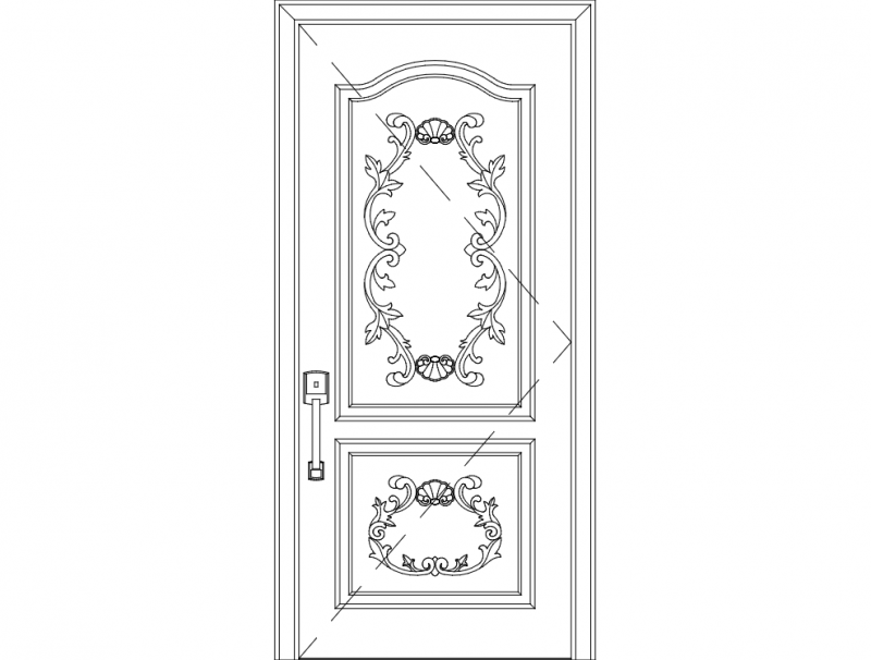 Wood Carved Door Single dxf File