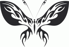 Tribal Butterfly Vector Art 13 DXF File