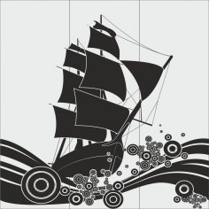 Ship Glass Etching Sandblasting Patterns CDR File