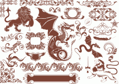 Vector Heraldic Elements Free Vector
