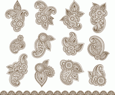 Henna Mehndi Paisley Flowers Vector Tattoo
