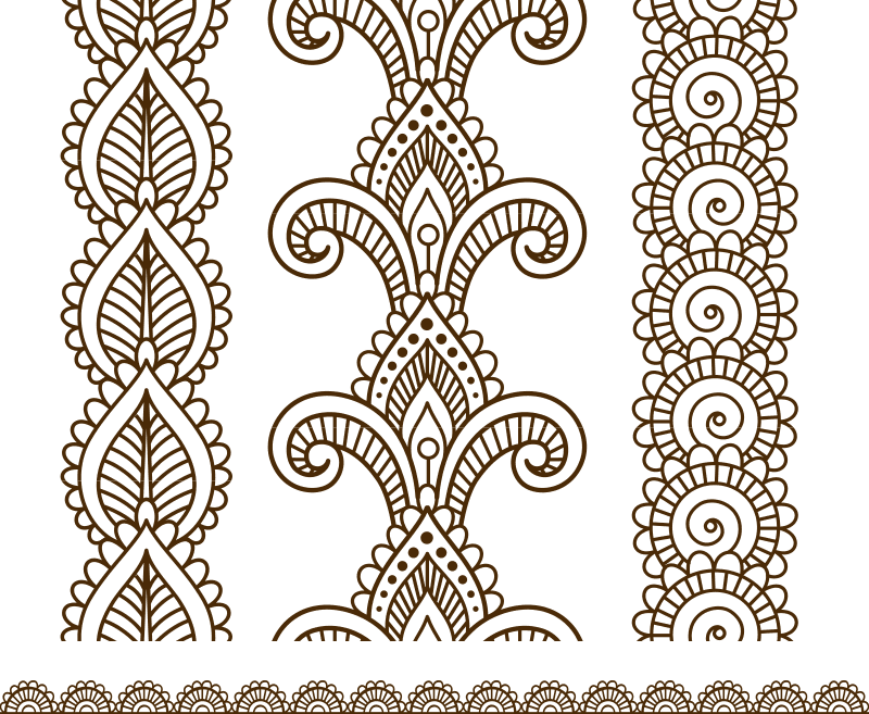Indian, Mehndi Henna line lace elements patterns