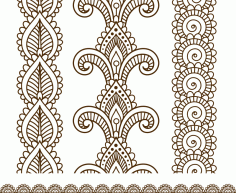 Indian, Mehndi Henna line lace elements patterns Free Vector