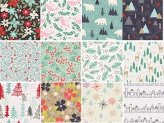Winter Patterns Set Free Vector