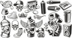 Graffiti Stickers Set Free Vector