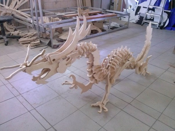 Wooden Dinosaur 3D Puzzle DXF File