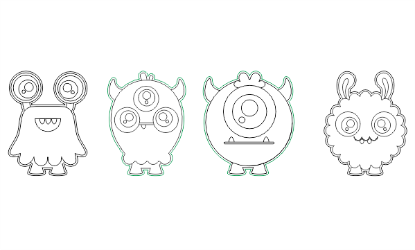 Aliens Line Art Free Vector