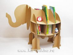 Elephant Cardboard Shelf Free Vector