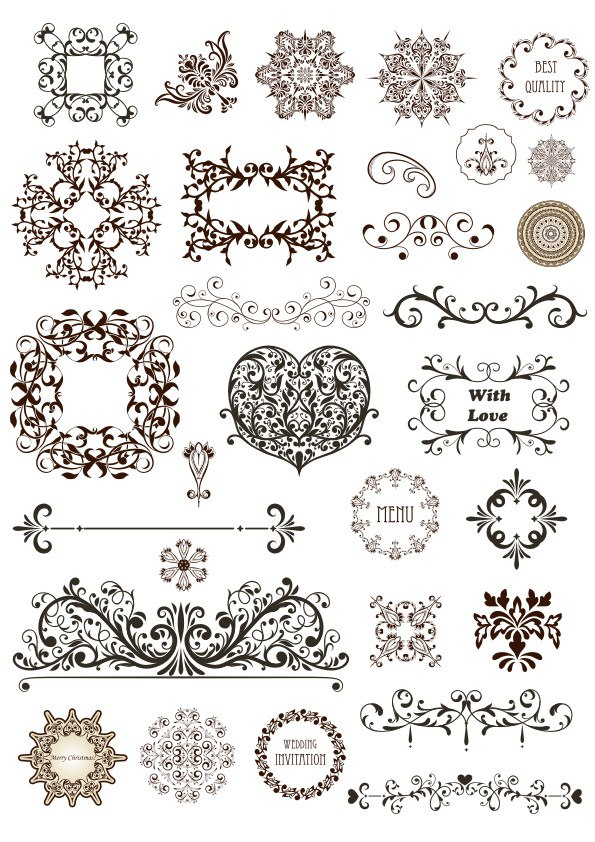Vintage Decor Design Elements Free Vector