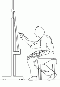 Artist Painting DXF File