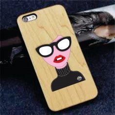 Fashion Women Sticker Skin for iPhone Free Vector