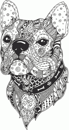 Dog Head Line Drawing Vector CDR File