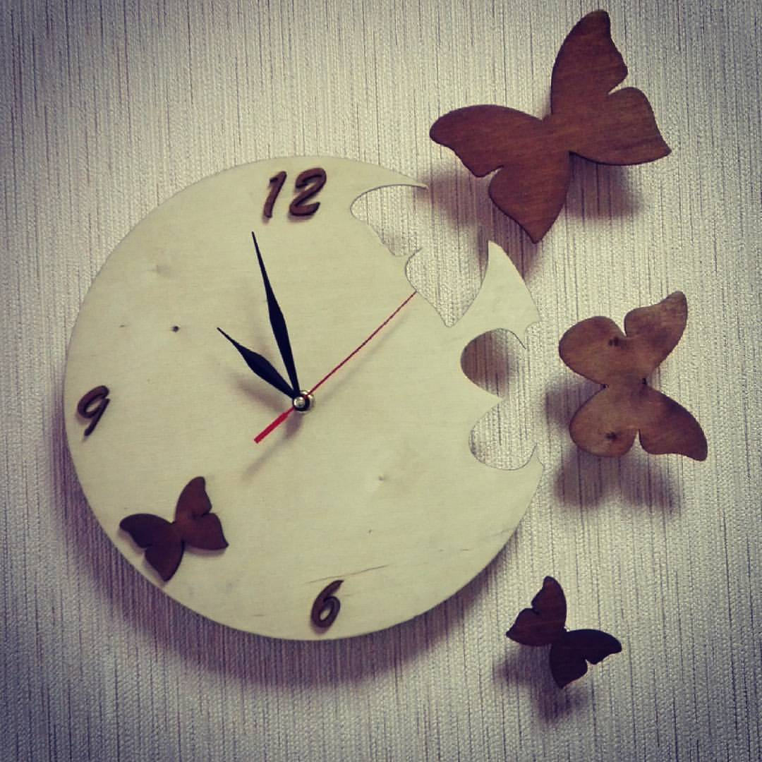 Butterfly Clock Laser Cut Free Vector