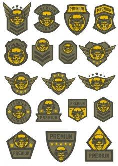 Skull Military Shevron Free Vector