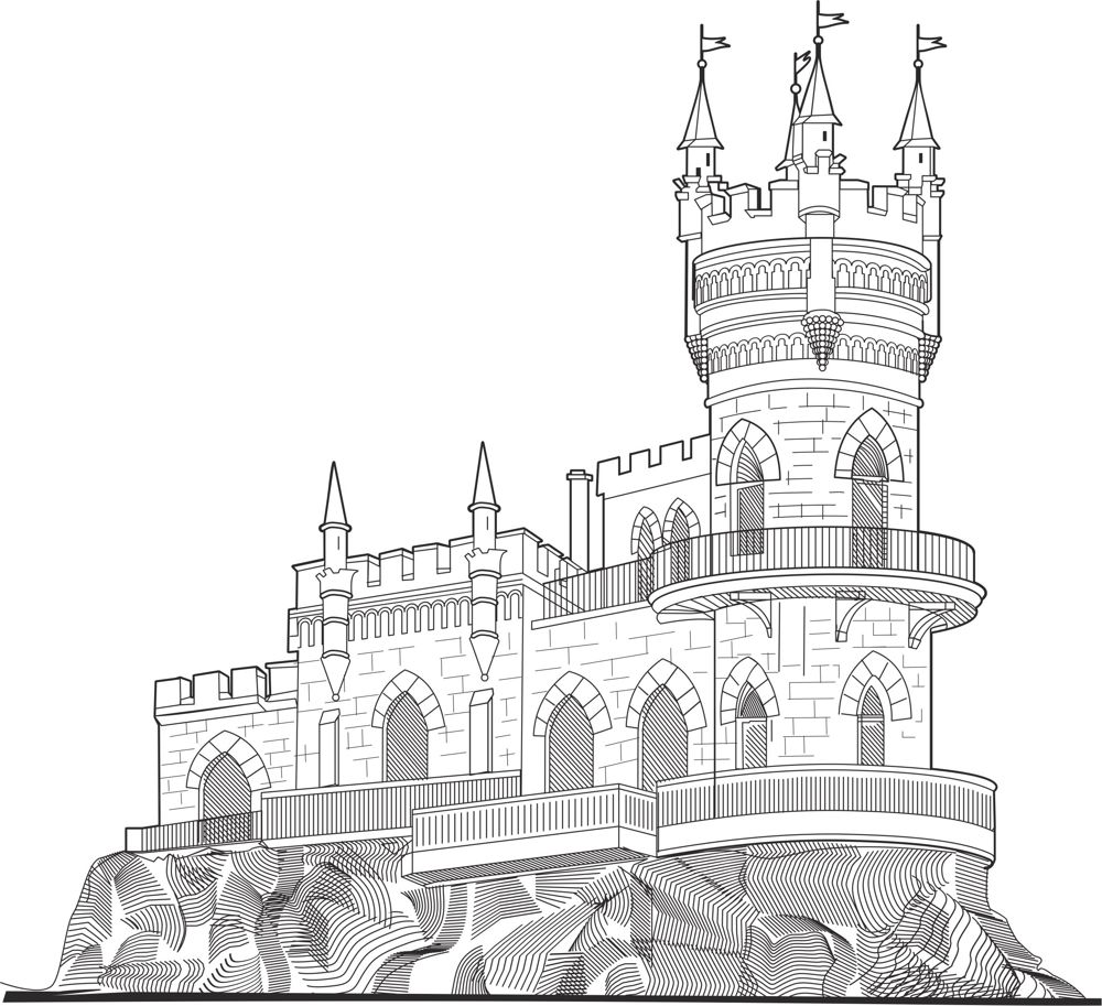 Castle Vector line drawing vector art Free Vector