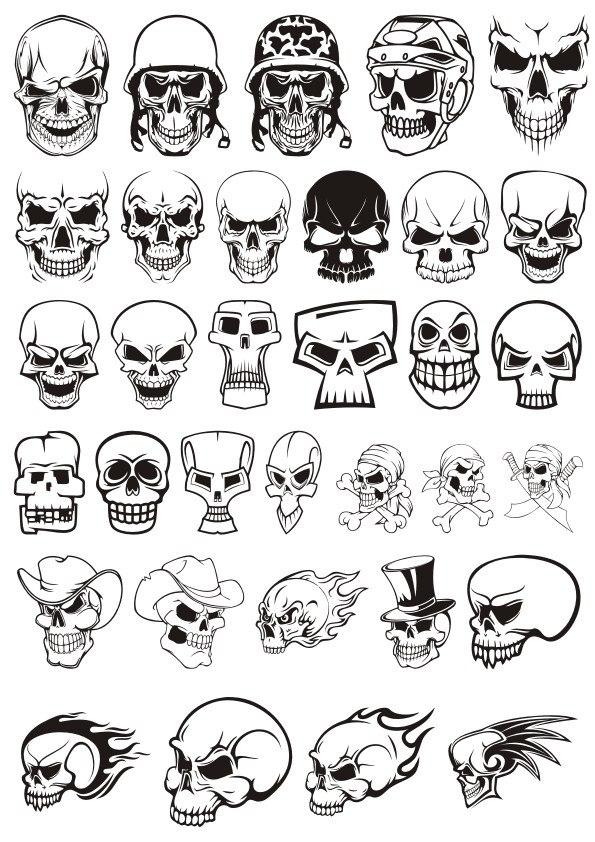 Skull demon or evil horror Vector Pack CDR File