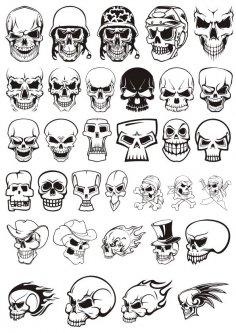 Skull demon or evil horror Vector Pack Free Vector