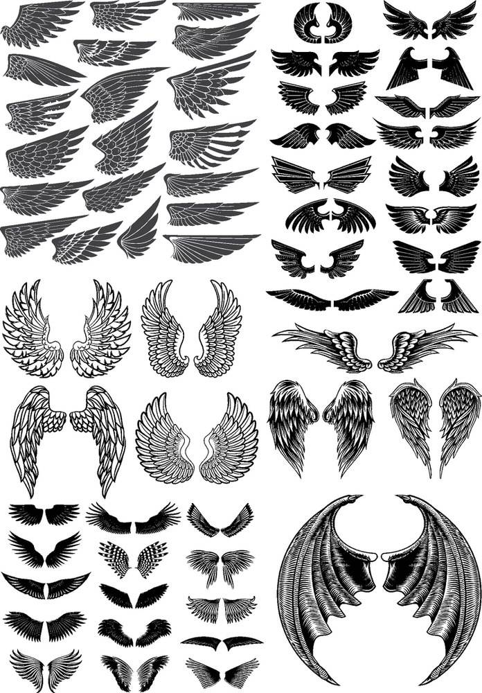wings vector pack free vector cdr download