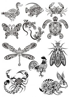 Ornament Animals Tribal Tattoo Designs Free Vector