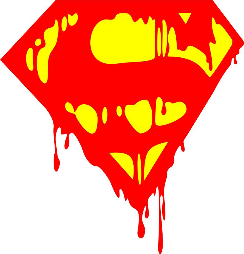 Logo Superman Bleeding Sticker dxf File