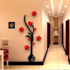 Vase Flower Tree Crystal Acrylic wall art CDR File