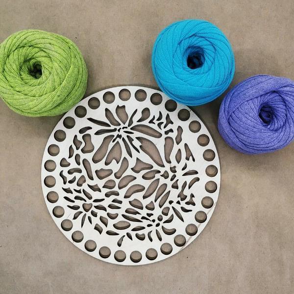 Laser Cut Crochet Basket Base Free Vector