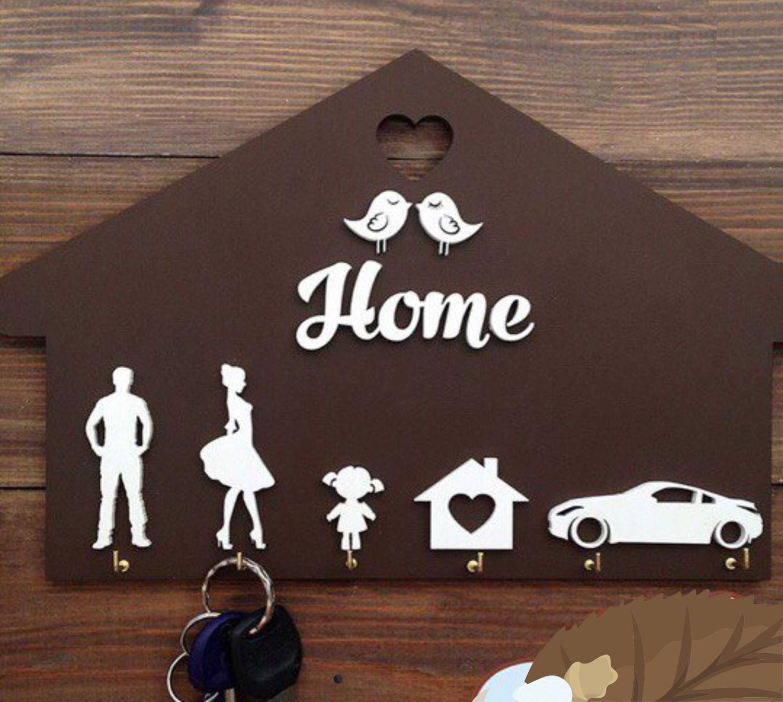 Laser Cut Homde Shaped Wooden Key Holder Personalized Key Hanger Free Vector