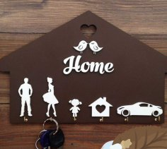 Laser Cut Homde Shaped Wooden Key Holder Personalized Key Hanger Free Vector