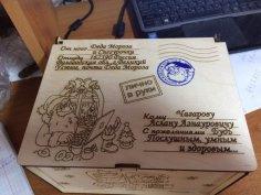 Laser Cut Christmas Wooden Box Free Vector