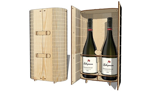 Laser Cut Double Wine Box Wooden Two Bottle Wine Gift Box 3mm Plywood Free Vector