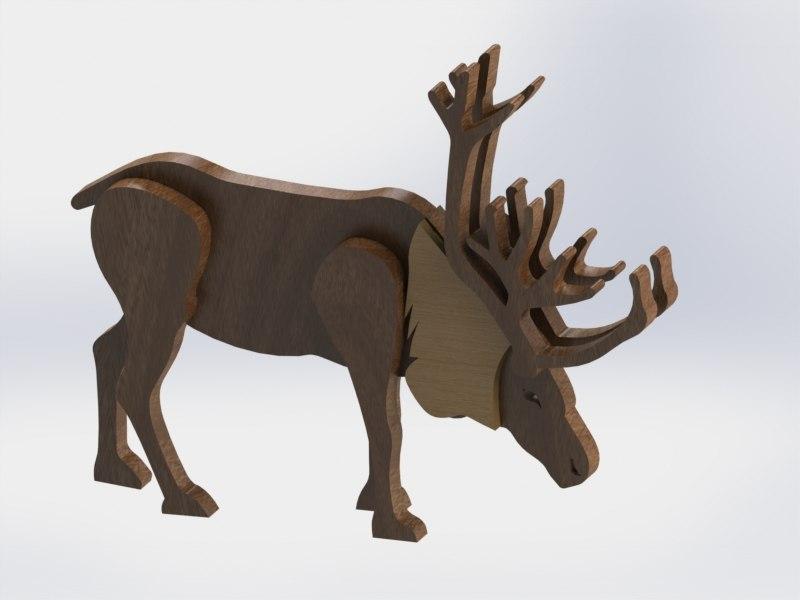 Laser Cut Wooden Reindeer Free Vector