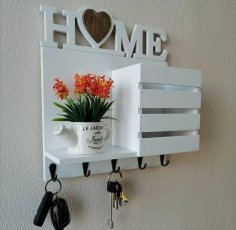 Laser Cut Keys Hanger With Wall Shelf And Mail Holder Free Vector