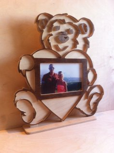 Laser Cut Teddy Bear Photo Frame DXF File