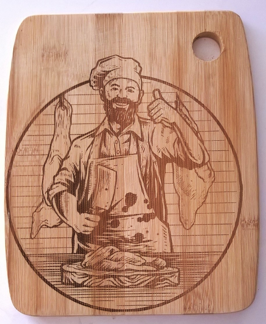 Laser Engraving Cook Chef Vector Decor Design For Cutting Boards Free Vector