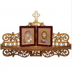 Laser Cut Christian Home Altar Wooden Shelf For Icons SVG File
