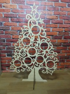 Laser Cut Wooden Decorative Christmas Tree Free Vector