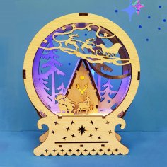 Laser Cut Christmas Gift New Year Night Lamp Free Vector