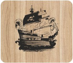 Laser Engraving Pirate Ship Art On Cutting Board Free Vector