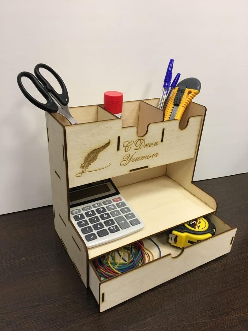 Laser Cut Office Home Supplies Desk Organiser Pen Holder Storage Box Free Vector