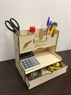Laser Cut Office Home Supplies Desk Organiser Pen Holder Storage Box Free Vector