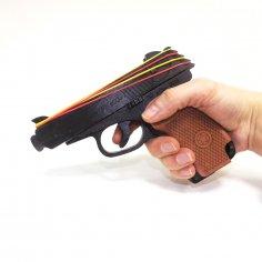 Laser Cut Wooden Rubber Band Gun Toy Free Vector