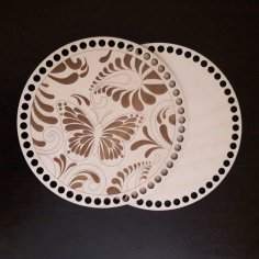 Laser Cut Engraved Basket Lid And Bottom Wooden Crochet Blank Kit Free Vector