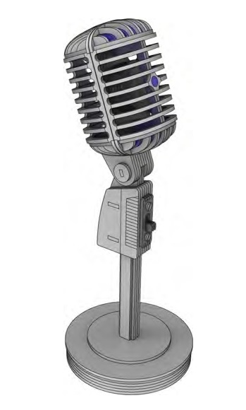 Laser Cut Wooden Microphone 3D Model Shure Microphone 55S 3mm Free Vector