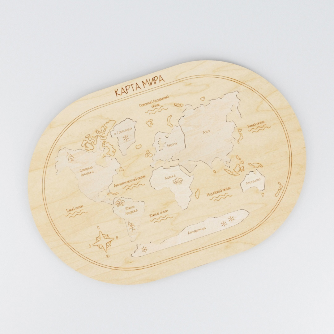 Laser Cut Wooden World Map Puzzle Free Vector