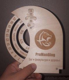 Laser Cut Wooden Circular Perpetual Calendar Free Vector