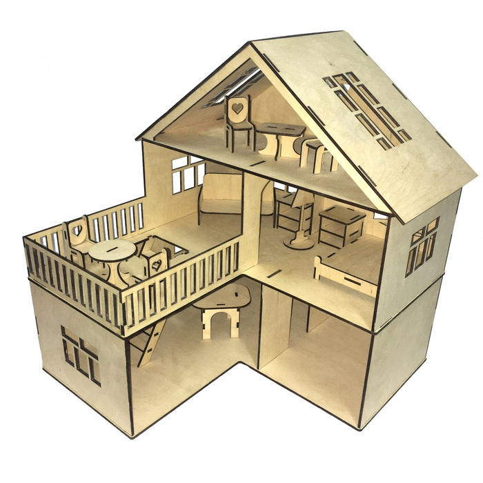 Laser Cut Dollhouse Open Sided Multi-story 40x60cm Plywood 3.5mm Free Vector